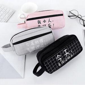 Big-Capacity-Pen-Bag-Pencil-Case-Stationery-Canvas-New-Purse-School-Case-WS