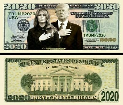 Donald Trump 2020 Re-Election Presidential Dollar Bill First Couple Pack of 50