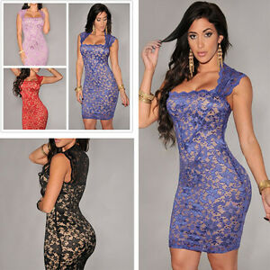 Embroidered-Bodycon-dress-Short-Mini-skirt-Plus-Size-Uk-Sexy-Women-039-s-Clothing