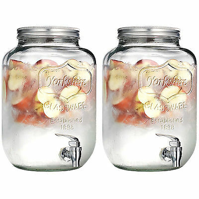 Set Of 2 Drinks Ice Beverage 5 Litre Dispensers Twist Top Lid Storage Party BBQ