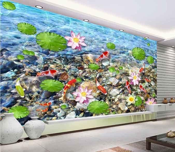 3D Lotus Fishs Stone 8 Wall Paper Murals Wall Print Wall Wallpaper Mural AU Kyra