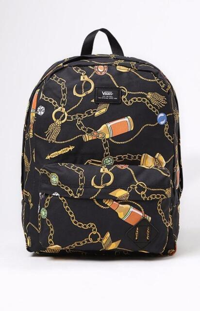 5e97ab7c2e Vans Off the Wall Old Skool Backpack Black Casino Gold Chains Dice Problem  Child