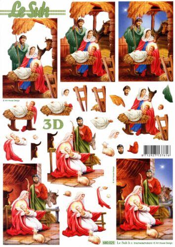 Christmas Scenes 3D Die Cut Decoupage Sheet Card Making Craft NO CUTTING REQ