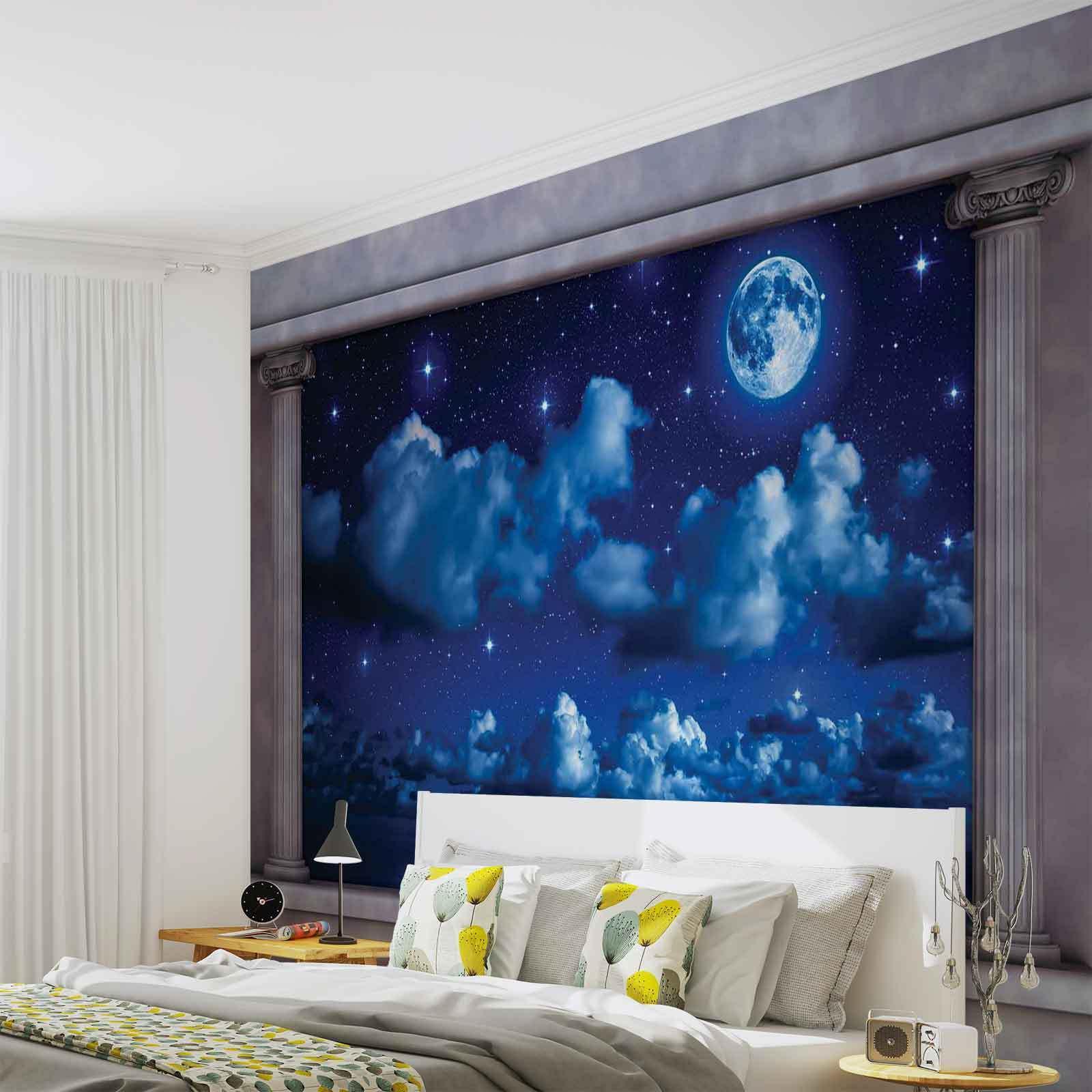 VLIES FOTOTAPETE Blauer Nachthimmel Fenster Aussicht TAPETE MURAL (2873FW)