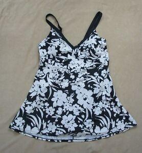 Island Escape Swimdress Sz 14 White Black Shirred V Neck Swimsuit R760796