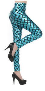 Women Mermaid Leggings Ariel Aqua Blue Fish Scales Cosplay Costume S-L Halloween