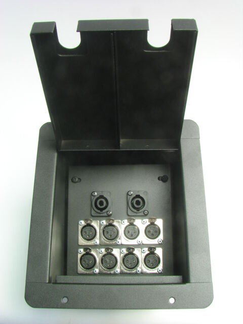 ProCraft Pro Audio Recessed Stage Floor Pocket Box 8 XLR Channel, 2 Speakon -BK