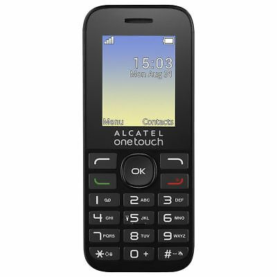 "Alcatel OneTouch 1016G Mobile Phone 1.77"" Screen Black Unlocked Sim Free"