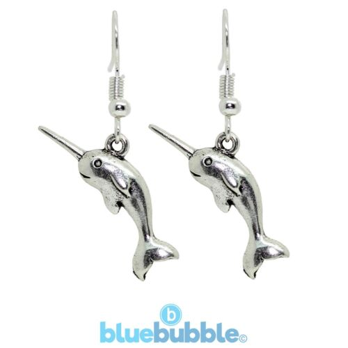 Bluebubble SOMETHING FISHY Narwhal Earrings Cute Kitsch Funky Girls Unicorn Fish