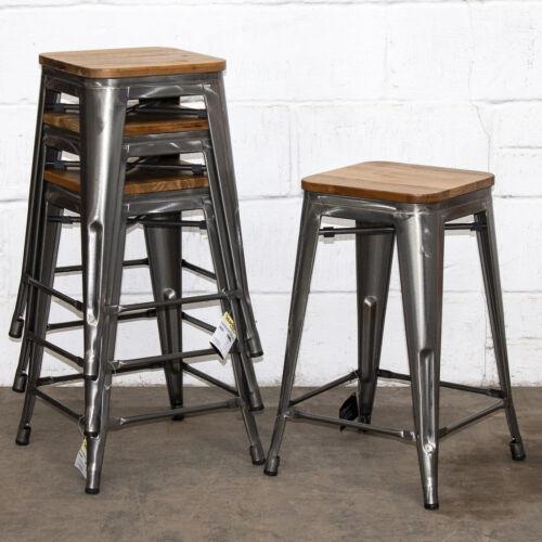 Set of 4 Steel Metal Industrial Bar Stool Breakfast Kitchen Bistro Cafe Vintage