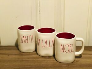 Rae-Dunn-Christmas-By-Magenta-SANTA-FA-LA-LA-NOEL-Red-Large-Letter-Mug-Set-of-3