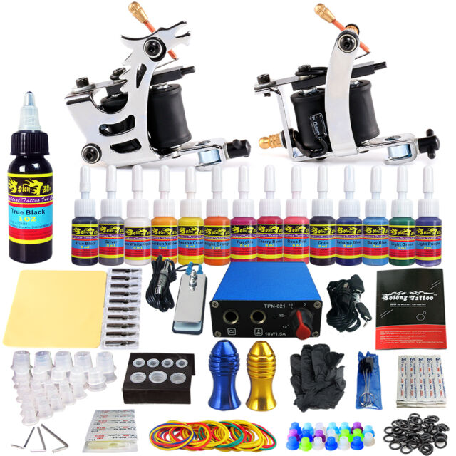 Solong Tattoo Starter Kit 2 Machine Guns 14color Ink Power Supply ...