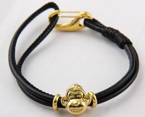 SHA MBA Lara charm leather bracelet lobster clasp Tibetan gold monkey