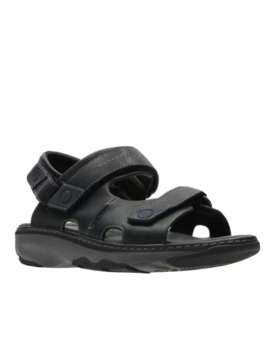Clarks Men's Raffe Coast Black Leather Casual Sandals Uk 10.5 H / 45 Wide Fit