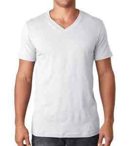 New mens v neck t shirt 100 cotton plain tee white xs xl for Mens plain v neck t shirts