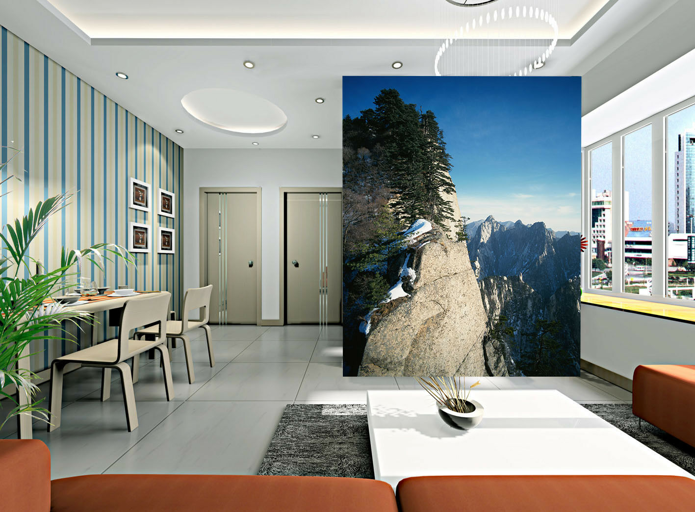 3D Cliff Pine Peak 455 Wall Paper Wall Print Decal Wall Deco Indoor Mural Summer