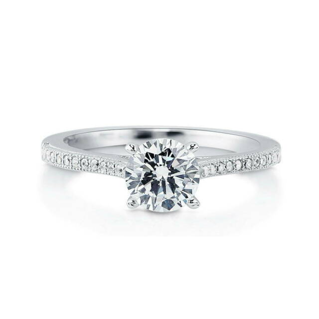 BERRICLE Sterling Silver Round CZ Solitaire Promise Engagement Ring 1.18 CTW