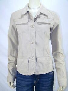 Billabong-Beige-Collared-Button-Front-Long-Sleeve-Blazer-Womens-Size-Large-12-14
