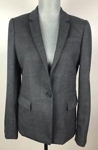 J-CREW-Womens-SZ-10-Wool-Lined-Gray-Grey-Blazer-Jacket-Single-Button-Career
