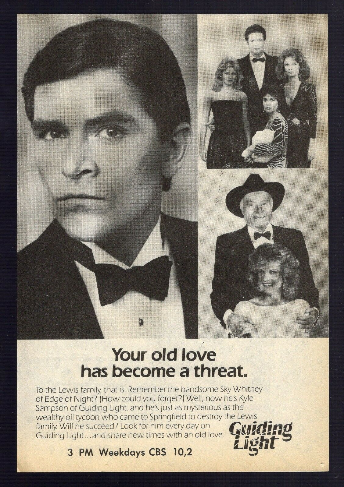 Image 1 - 1985 CBS TV AD~THE GUIDING LIGHT SOAP OPERA Your Old Love Has Become A Threat
