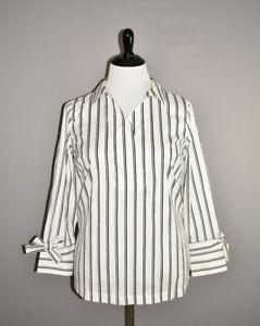 TALBOTS-NEW-79-White-Black-Striped-Popover-Tunic-Top-1X