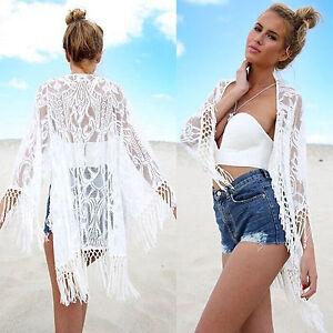 Women-Lace-Long-Sleeve-Kimono-Cardigan-Beach-Bikini-Cover-Up-Tassel-Tops-Blouse