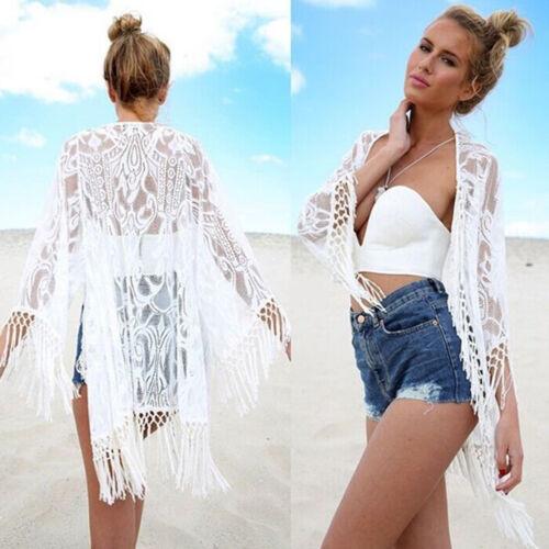 Damen Boho Lang Cardigan Bikini Cover Up Vertuschen Mantel Longshirt Strandkleid