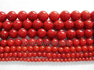 Red Natural Coral Gemstone Round Spacer Beads 16'' Making Jewelry Craft
