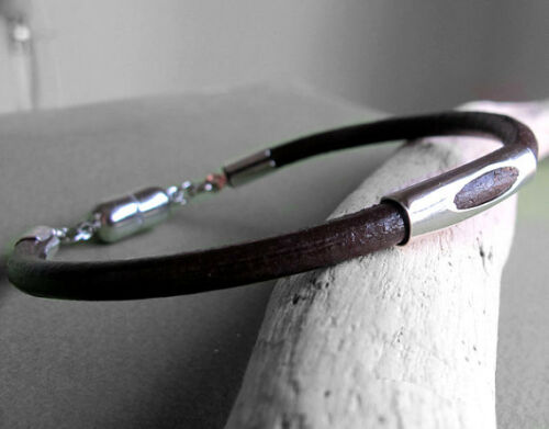 Brown Bracelet Silver Mens Leather Bracelet Magnetic Clasp Bracelet for Men
