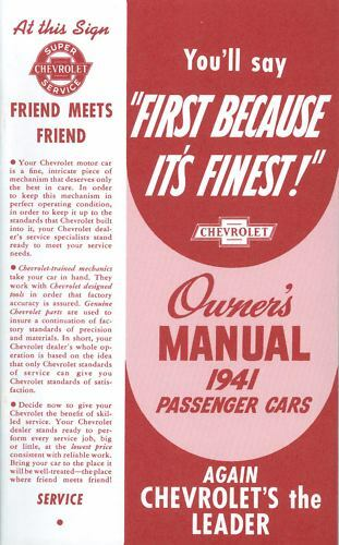 1941 CHEVROLET PASSENGER CAR OWNERS MANUAL