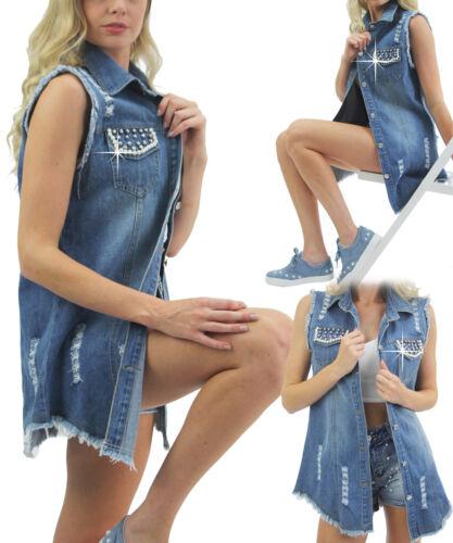 Linea Lunga Donna Jeans Pearl Impreziosito Tasche Stile Giacca Di Jeans Blu