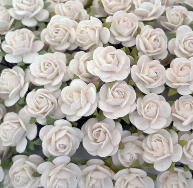 50 Mini Mulberry Paper Flower Roses Baskets Dolls Cards Home Decoration ZR2-15