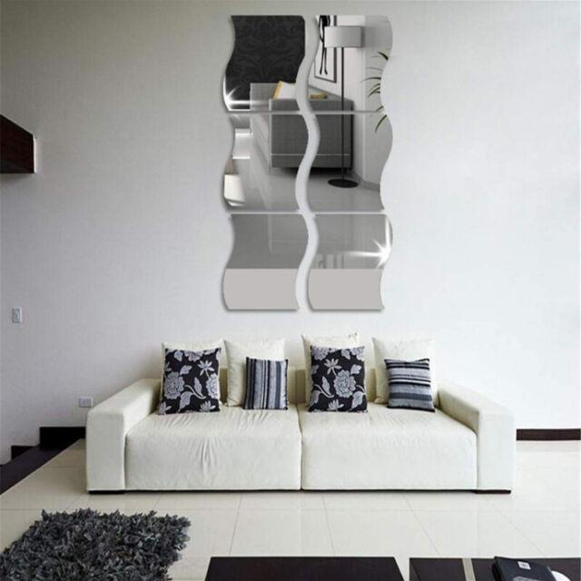6pcs/Set Wavy 3D Mirror Wall Stickers Home Living Room DIY Art Decor  Removable