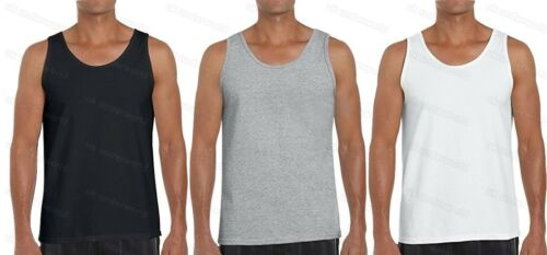 Mens Plain 100/% Cotton Sleeveless Vest Adults Gym Athletic Training Tank Top