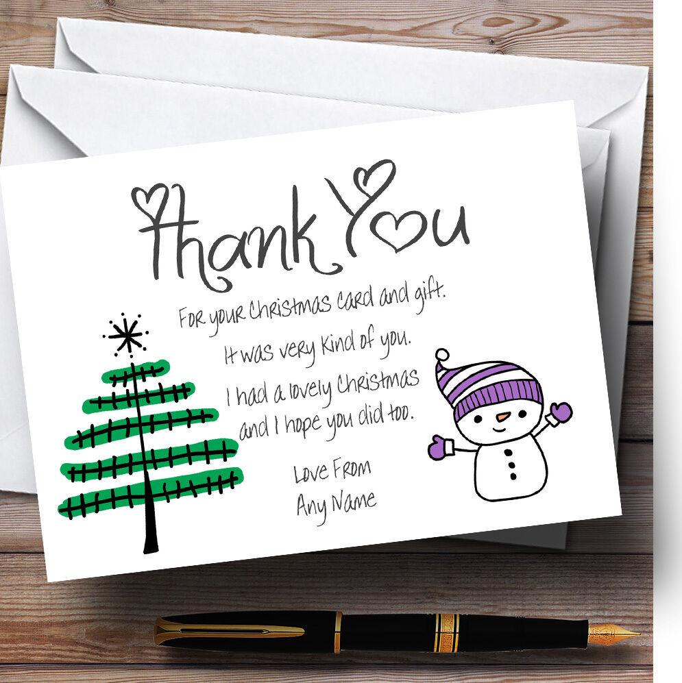 DOODLE Noël Arbre de Noel personnalisés vous vous personnalisés remercier cartes ddd863
