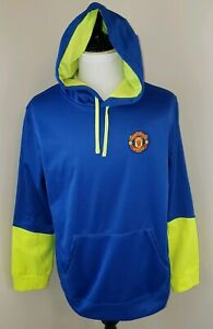 Manchester-United-Size-XL-FC-Soccer-Football-Blue-Yellow-Pullover-Hoodie-AH