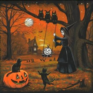 ACEO HALLOWEEN PRINT OF PAINTING RYTA BLACK CAT FOLK ART HAUNTED HOUSE MOONLIGHT