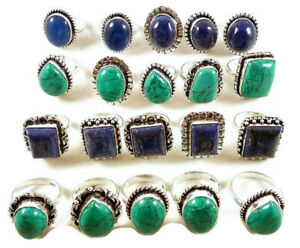 10 Pcs Lot Blue Lapis Turquoise Mix 925 Sterling Solid Silver Rings BR-25