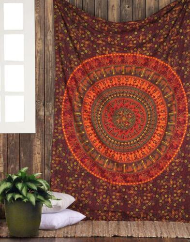Kamel Mandala Überwurf Wandbehang Baumwolle Yoga Deko Tuch kastanienbraun Einzel