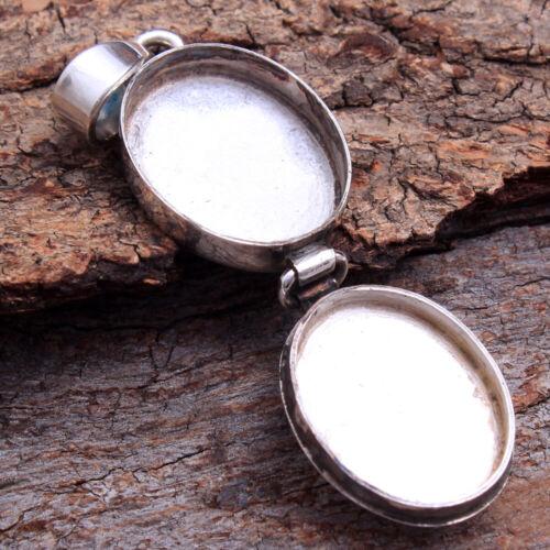Forme Ovale souhaite prière Poison Gemstone Boîte Pendentif Argent Sterling 925 Bijoux