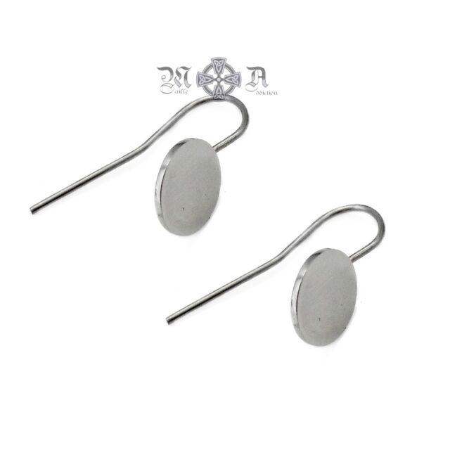 5 x Pairs 316L Stainless Steel French Hooks w/ 10mm Pad Setting - Earring Wires