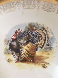 "Vtg Sabin 22k Rim Crest O Gold Thanksgiving Turkey Dinner 13.5"" x 10"" Platter"