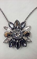 $125 Swarovski by Shourouk Small Dark Pendant Flower Crystal Necklace 5029264