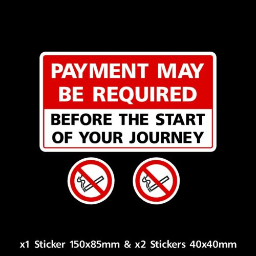 CC025 Payment may be required before your journey Sticker Minibus Taxi Cab