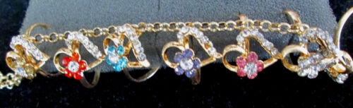 Gorgeous heart  flower crystals GOLD gep Hand chain slave Bracelet  O//S Fits all