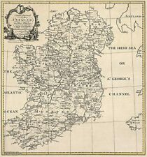 OLD IRELAND IRISH MAP CORK DONEGAL DOWN KERRY SURNAMES! HISTORY very large!!!