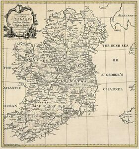 Old Ireland Irish Map Galway Kildare Kings Ormond Queens Roscommon