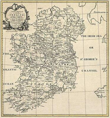 OLD IRELAND IRISH MAP Genealogy McEghan McElliot McFurbis McGauran SURNAMES BIG