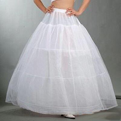 A-Line 3 Hoop Bridal Wedding Gown Dress Underskirt Petticoat Skirt Slip White