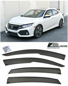 VXMOTOR for 2016-Up Honda Civic Window Visors Tape-On Smoke Tinted ...